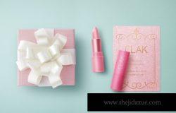 粉色精美的口红礼品包装VIP套件场景样机