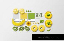 VI品牌水果色卡纸套装设计展示样机