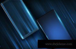 蓝色高品质的简约现代移动手机APP UI样机展示模型