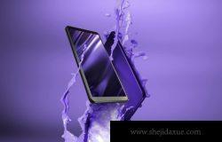 蓝色丝滑的现代移动手机APP UI样机展示模型