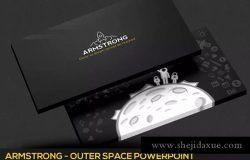 阿姆斯特朗登月暗黑背景企业多用途PPT模板素材 Armstrong Powerpoint Template