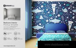 室内设计卧室样机模板