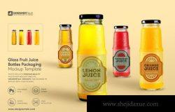 果汁玻璃瓶包装标签设计样机模板