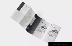 折叠设计风格企业传单/宣传册设计样机 Roll-Fold Brochure Mockup – DL DIN Lang Size