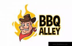 烧烤猪卡通吉祥物Logo标志设计模板