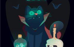 万圣节死亡蝙蝠骷髅药水矢量插图