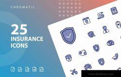 25枚Chromatic设计风格保险行业图标素材 Insurance Chromatic