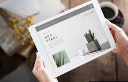 白色平板电脑IPAD科幻短贴图屏幕展示