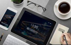 黑色平板电脑UI/APP客户端智能贴图展示样机