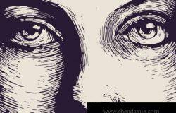 有肌理的单线素描有神的眼睛矢量插图