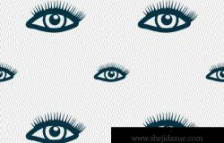 简笔画长睫毛的眼睛服装布料印制插图
