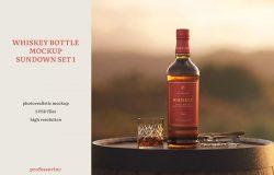 日落场景威士忌酒瓶样机套装