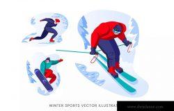 冬季运动员人物形象矢量设计手绘素材 Winter Sport Vector Character Set