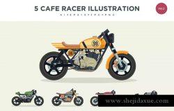复古老式摩托车矢量插画套装Vol.2 5 Vintage Cafe Racer Vector Illustration Set 2