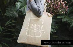 女士帆布手提包/手提袋样机模板 Women Tote Bag Mockup