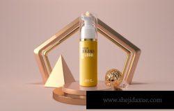 抽象金色C4D 创意立体化妆品样机模板