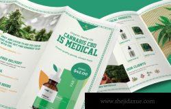 植物精华类产品设计展示三折页模板下载