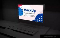 暗黑背景iMac Pro苹果一体机电脑样机模板 Dark iMac Pro