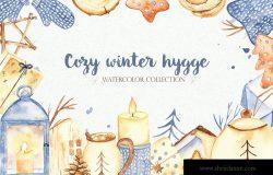 水彩手绘冬季取暖主题剪贴画素材