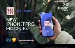 iPhone 11 Pro 时尚手持手机样机素材下载