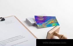 A4尺寸写字夹板&名片样机设计模板