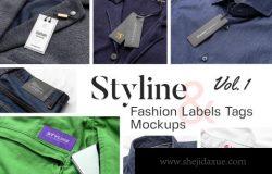 高品质的服装标签和标签样机VI设计展示模型mockups