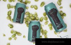啤酒罐包装设计展示样机素材下载