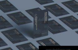 时尚高端商业商务质感的房地产名片设计VI样机展示模型