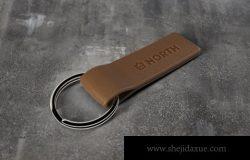 皮革钥匙链标志模型