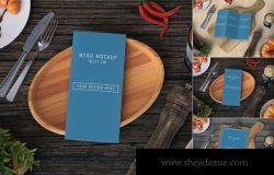 简约好用的餐桌餐厅菜单菜谱设计VI样机展示模型