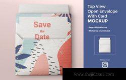 信封卡片品牌设计顶视图展示样机模板