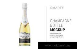 香槟酒瓶品牌包装设计样机