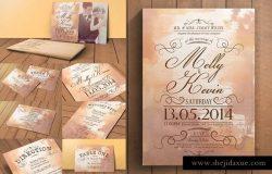 复古设计风格婚礼邀请函设计套装 Vintage Wedding Invitation Pack