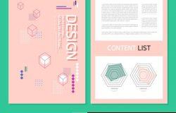 浪漫粉色扁平化图册画册设计模板