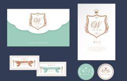 浪漫清新的信封信纸婚礼邀请函模板