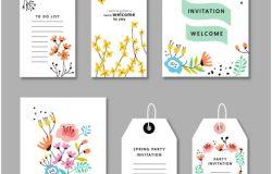 彩色花朵服装吊牌标签矢量插画