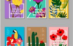 INS火爆的热带植物风格矢量插画标签素材