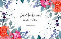 彩色手绘水彩花卉背景素材