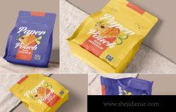 时尚高端逼真质感密封食品包装袋设计VI样机展示模型