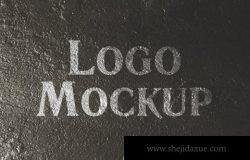 铁板上的logo设计展示样机下载(PSD)