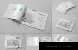 逼真极简高端A4品牌杂志册子画册宣传手册样机