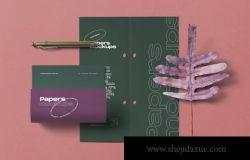 紫色时尚运动文具笔记本手提袋植物蒲公英龟背竹草本元素品牌场景