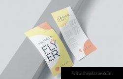 高品质的逼真质感DL宣传单海报设计VI样机展示模型