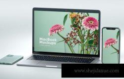 Iphone和MacBook透视角度响应式网页样机(PSD)