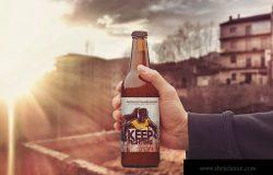 小瓶啤酒外观设计多角度演示样机 50cl Beer Bottle Mockup
