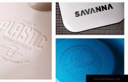 塑胶压印工艺Logo设计效果图样机 Plastic Logo Mockups