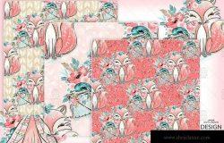 波西米亚风格狐狸无缝图案设计素材 Boho Fox digital paper pack