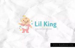 可爱婴儿图形幼婴品牌Logo标志设计模板 Little King Logo Template
