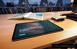 高品质的时尚高端商业商务办公室场景iPad Pro UI样机展示模型mockups