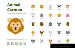 动物卡通形象填充扁平设计风格图标素材 Animal Cartoon (Flat)